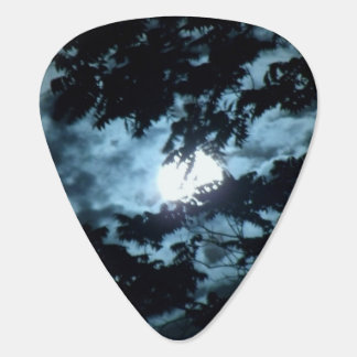 Moon Illuminates the Night behind Tree Branches Guitar Pick