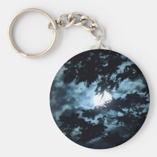 Moon Illuminates the Night behind Tree Branches Keychain