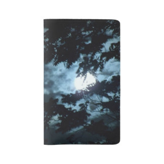 Moon Illuminates the Night behind Tree Branches Large Moleskine Notebook