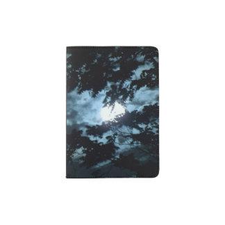 Moon Illuminates the Night behind Tree Branches Passport Holder