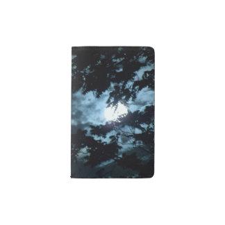 Moon Illuminates the Night behind Tree Branches Pocket Moleskine Notebook