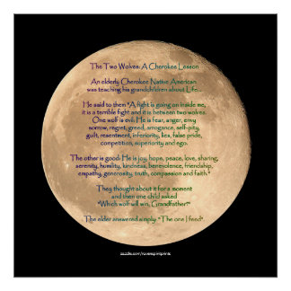 Moon Image with 2 WOLVES CHEROKEE TALE Art Poster