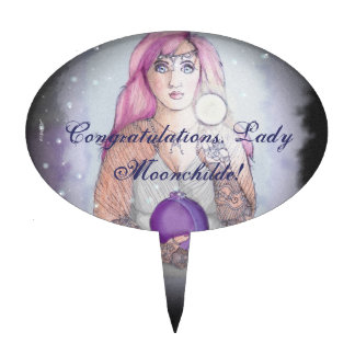 Moon in a Bottle Witch Wiccan Pagan Cake Topper