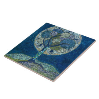"""Moon in Bloom"" (painting) Ceramic Tile"