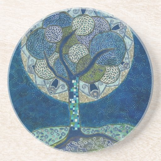 moon in bloom (painting) drink coaster