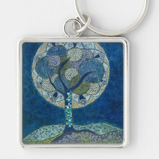 moon in bloom (painting) keychain
