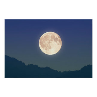 Moon in the Night Sky Poster