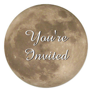 """Moon Invitations Personalized Full Moon RSVP Cards 5.25"""" Square Invitation Card"""