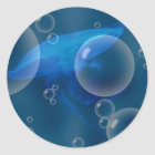 Moon Jellyfish at Bubbled sea Classic Round Sticker