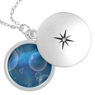 Moon Jellyfish at Bubbled sea Necklace