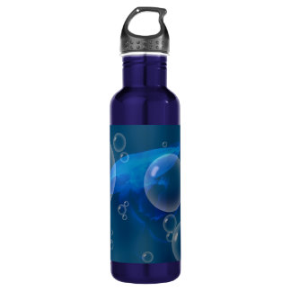 Moon Jellyfish at Bubbled sea Water Bottle