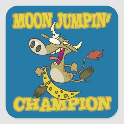 moon jumping champion champ cow funny cartoon square sticker