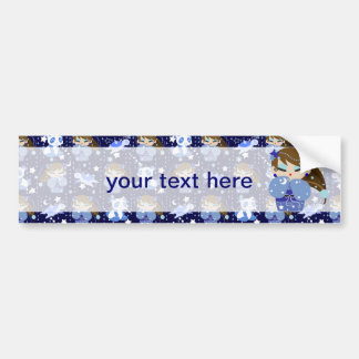 Moon Kokeshi Blue Pattern Bumper Sticker