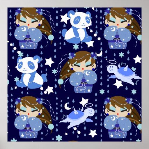 Moon Kokeshi Blue Pattern Posters