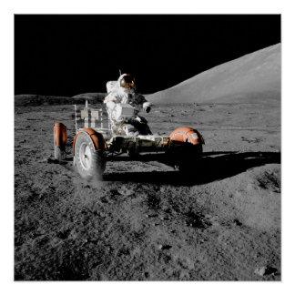 moon landing astronaut buggy space poster