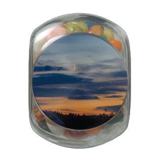Moon Lid Jelly-Bean Jar Glass Candy Jar