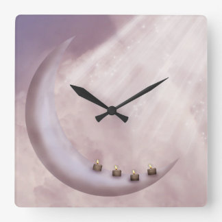 Moon Light Candles Wall Clock