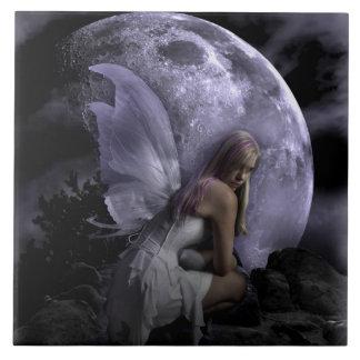 Moon Light Fairy Large Square Tile