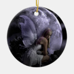 Moon Light Fairy Double-Sided Ceramic Round Christmas Ornament
