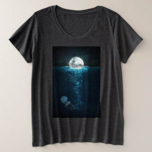 Moon Light On Ocean Plus Size T_Shirt