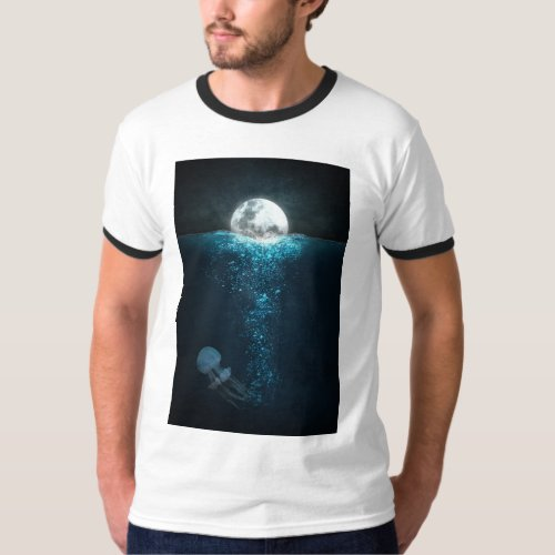 Moon Light On Ocean T_Shirt
