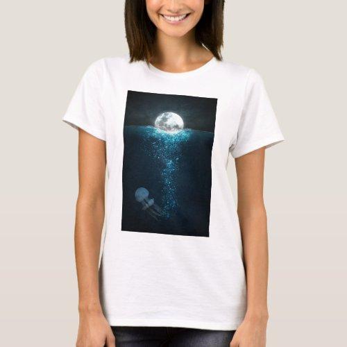Moon Light On Ocean T_Shirt
