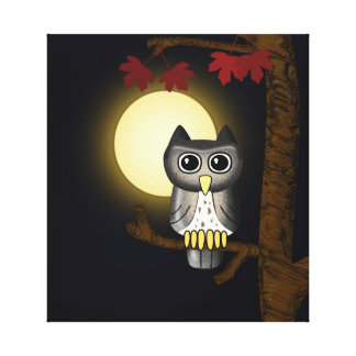 Moon Light Owl Wrapped Canvas