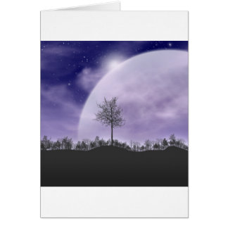 Moon Light Stars Sky Trees Whimsical Personalize Card