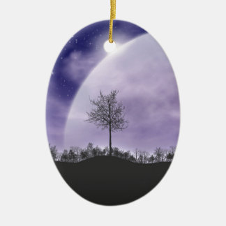 Moon Light Stars Sky Trees Whimsical Personalize Ceramic Ornament