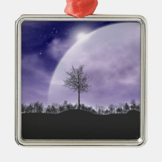 Moon Light Stars Sky Trees Whimsical Personalize Metal Ornament