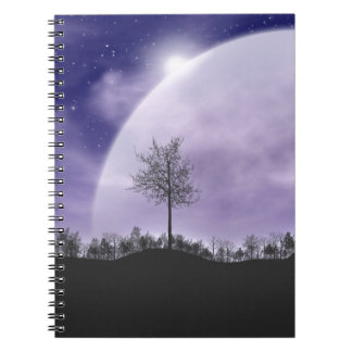 Moon Light Stars Sky Trees Whimsical Personalize Notebook