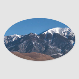 Moon Lit Colorado Great Sand Dunes Starry Night Oval Sticker