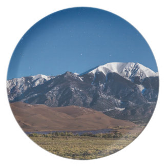 Moon Lit Colorado Great Sand Dunes Starry Night Plate