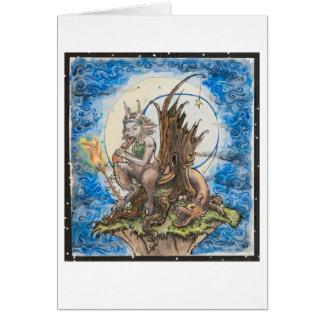 moon lit dreadlock faun greeting card