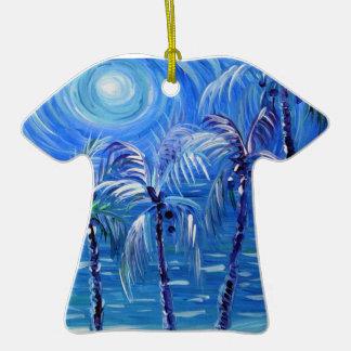 Moon lit palms Aloha Shirt ornament