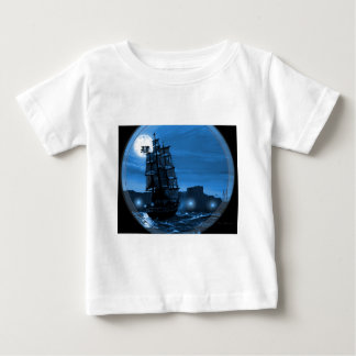 Moon lit sailing ship through a Spyglass Baby T-Shirt