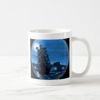 Moon lit sailing ship through a Spyglass Coffee Mug