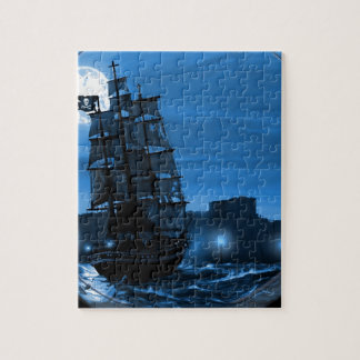 Moon lit sailing ship through a Spyglass Jigsaw Puzzle
