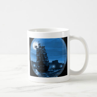 Moon lit sailing ship through a Spyglass Mug