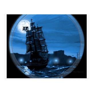 Moon lit sailing ship through a Spyglass Postcard