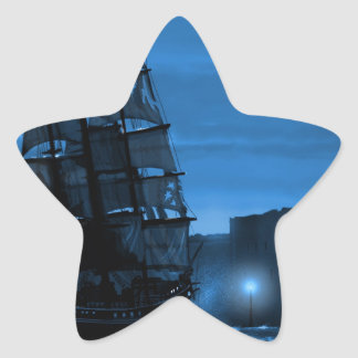 Moon lit sailing ship through a Spyglass Star Sticker