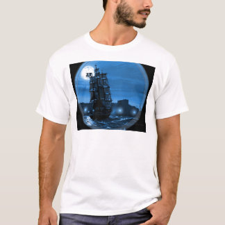 Moon lit sailing ship through a Spyglass T-Shirt