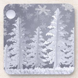 Moon lit Winter landscape Beverage Coaster