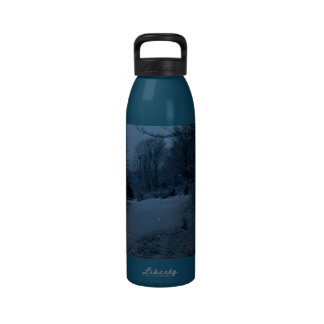 Moon Lite Road in the Woods - Scary Night Water Bottles