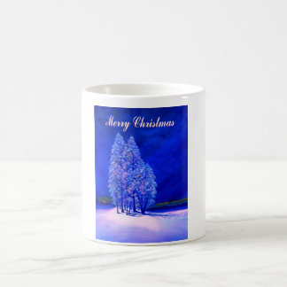 Moon Looks at Christmas Trees Coffee Mug