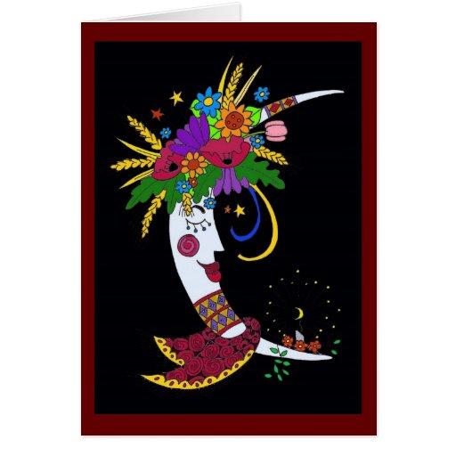 Moon Mama Ukrainian Folk Art Greeting Card