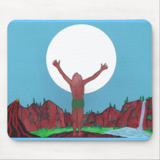 Moon Man Mountains Flowing Mouse Pad