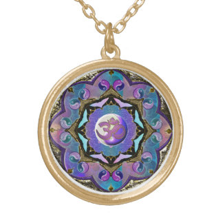 Moon Mandala in Blue and Purple and Gold Round Pendant Necklace