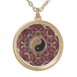Moon Mandala in Red and Gold Pendant