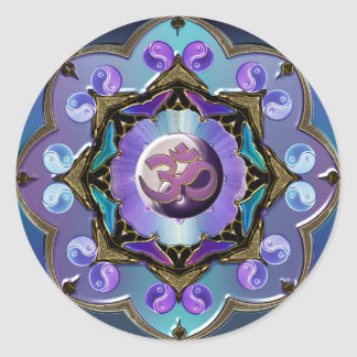 Moon Mandala Variation Classic Round Sticker